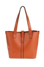 SuperCart Fashion Women Ladies Synthetic Leather Hasp Closure 2pcs Casual Tote Handbag Shoulder Messenger Bag (Coffee)