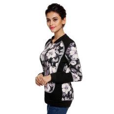 SuperCart Finejo Cool Stylish Ladies Women Floral Patchwork Full Zipper Spring Autumn Jacket (Intl)