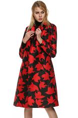 SuperCart FINEJO Women Long Trench Coat Bird Print Double Breasted Wind Coat Windbreaker with Belt (Red) (Intl)