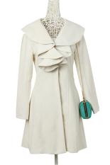 SuperCart Korea Ladies Women's Fashion Elegant Long Coat Outwear Slim Fit Overcoat (Beige) (Intl)