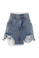SuperCart Korean Fashion Women's Holes Blue Denim Shorts Casual Leisure Sports Sexy Jeans (Blue) (Intl)