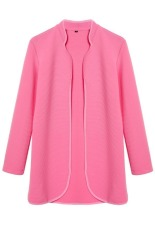 SuperCart Ladies Women Casual Long Sleeve Elastics Coat Open Stitch Jacket (Rose Red) (Intl)