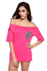 SuperCart Lady Women's 1/2 Sleeve Boat Neck Off-shoulder Striped Pocket Loose T-shirt- Intl