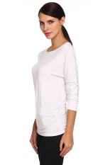 SuperCart Meaneor Ladies Women Long Sleeve Size Shirring Drape Top Shirt Blouse (White) (Intl)