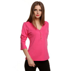 SuperCart Meaneor Stylish Ladies Women Casual V-neck Long Sleeve Single-breasted Solid T-shirt (Rose Red) (Intl)