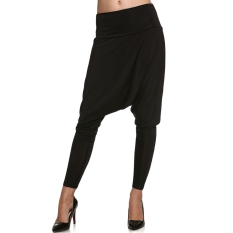 SuperCart Meaneor Womens Plain Long Harem Baggy Loose Trousers Pants (Black)