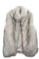 SuperCart New Fashion Women's Faux Fur Vest Medium Long Stand Collar Jackets Coat Vest Waistcoats (Grey) (Intl)