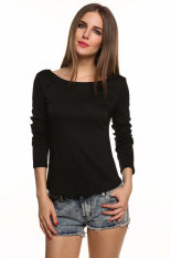 SuperCart Sexy Ladies Sexy Long Sleeve Leopard Backless Lace Decor Slim Casual Tops Blouse (Black) (Intl)