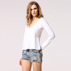 SuperCart Stylish Lady Women Sexy Deep V-Neck Back Hollow Lace Decor Slim Casual T-shirt Tops (White) (Intl)