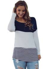 SuperCart Sweet Ladies Casual Long Sleeve Round Neck Patchwork Spring Autumn Blouse Tops (Navy Blue) (Intl)