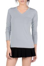 SuperCart V-Neck Fitted Plain T-Shirt (Gray) (Intl)
