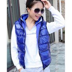 SuperCart Winter Women Sleeveless Hooded Shiny Vest Down-Padded Casual Waistcoat (Blue) (Intl)