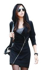 SuperCart Women Black Hooded Long Sleeve Slim Zipper Coat (Intl)