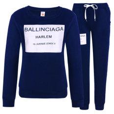 SuperCart Women Fashion Casual Letter Print Pullover Sweats Sweatshirt and Pants Tracksuit Set (Dark Blue) (Intl)