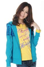 SuperCart Women Girl Floral Print Outdoor Jackets Sweater Hooded Coat Hoody Jacket Outwear (Green) (Intl)