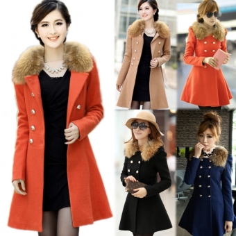 SuperCart Women Woolen Winter Trench Double Button Fur Collar Coat Jacket Outwear (Orange) (Intl) - Intl