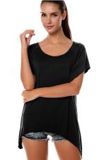 SuperCart Women's Fashion Casual Irregular Solid T-Shirt Black (Intl)
