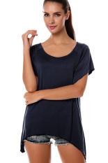 SuperCart Women's Fashion Casual Irregular Solid T-Shirt Navy Blue (Intl)