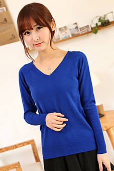 SuperCart Women's Fashion Solid Color Pullover Long Sleeve V-neck Knit T-shirt Blue