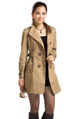 SuperCart Women's Slim Double-Breasted Long Sleeve Coat Long Jackets (Brown) (Intl)
