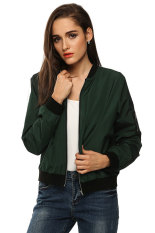 Supercart Zeagoo Women Autumn Casual O-Neck Long Sleeve Slim Zip Up Jacket Coat (Army Green) (Intl)