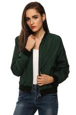 Supercart Zeagoo Women Autumn Casual O-Neck Long Sleeve Slim Zip Up Jacket Coat (Army Green) (Intl)