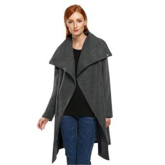 SuperCart Zeagoo Women Fashion Solid Asymmetrical High Collar Long Sleeve Wool Jacket Coat(Gray)