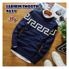Sweater rajut pria - Labirin smooth navy - rajut tribal