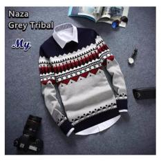 sweater rajut pria Naza grey rajut tebal