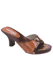 Syaqinah Sandal Heels Wanita - Coklat