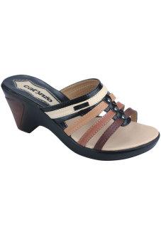 Syaqinah Sandal Heels Wanita - Hitam Kombinasi