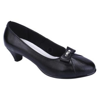 Syaqinah Sepatu Kulit Heels Wanita - Hitam