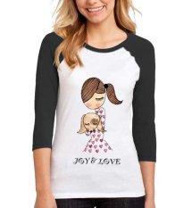 Sz Graphics Joy Love T Shirt Raglan 3/4 Kaos Raglan 3/4 T Shirt Wanita Kaos Wanita T Shirt Fashion-Hitam Putih