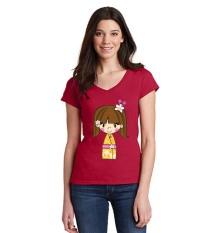Sz Graphics Mini Kimono Kaos V Neck Wanita T Shirt V Neck Wanita T Shirt Wanita Kaos Wanita T Shirt Fashion Wanita T Shirt Kaos Distro Wanita-Merah