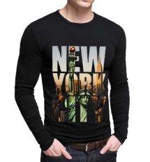 Sz Graphics New York City T Shirt Long Sleeve Pria Kaos Long Sleeve Pria T Shirt Pria-Putih