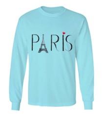 Sz Graphics / Paris / Long Sleeve Wanita / Kaos Lengan Panjang Wanita / T Shirt Wanita / Kaos Wanita / T Shirt Fashion Wanita / T Shirt Kaos Distro -Biru