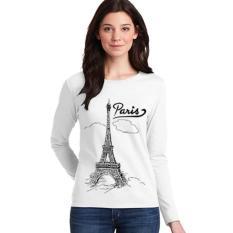 Sz Graphics Paris T Shirt Long Sleeve Wanita Kaos Lengan Panjang Wanita T Shirt Wanita Kaos Wanita T Shirt Fashion Wanita T Shirt Wanita-Putih