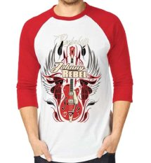 Sz Graphics Rockabilly T Shirt Pria Kaos Raglan Pria-Merah Putih