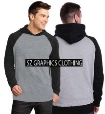 Sz Graphics / T Shirt Pria / Kaos Pria / T Shirt Fashion Pria / T Shirt Raglan Hoodie / Kaos Raglan Hoodie / T Shirt Kaos Distro Pria / Kaos Raglan Lengan Panjang Pria-Misty Black