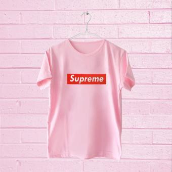 T-shirt Kaos Supreme Lengan Pendek Pink