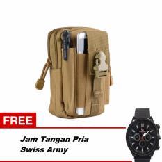 Tas Pinggang Pria Army Tactic Molle Waist Small Bag Military - Army Green + Gratis Jam Tangan Pria Swiss Army