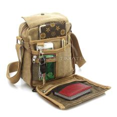 Tas Pria Kanvas Selempang REAL PICTURE / slempang Vintage Messenger Shoulder Bag AB-58-01 - CREAM