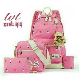 ... Tas Ransel Wanita 3in1 Laptop Motif Garis Model lestari FashionTRW 007 Pink
