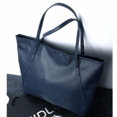 Tas Wanita Kulit Fashion PU Women Leather Tote Bag Handbags Shoulder Bags - BIRU NAVY