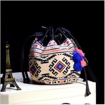 Tas Wanita Tote Bag Ethnic Canvas Drawstring Mini Bucket Backpack Shoulder Satchel Purple