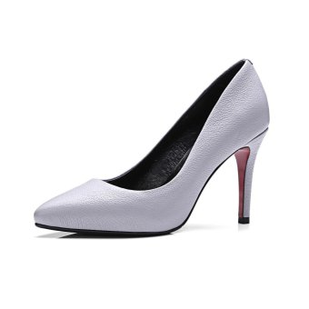 Tauntte 2017 New Casual Genuine Leather High Heels Pump Women Office Shallow Thin Heels Shoes For Lady (Grey) - intl