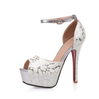 Tauntte 2017 New Summer Women Printed Peep Toe Thin Heels Pumps Fashion High Heel Career Shoes (Beige) - intl