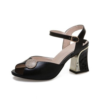 Tauntte New Women High Heels Sandals Fashion Breathable Square Heel Peep Toe Shoes For Lady (Black) - intl