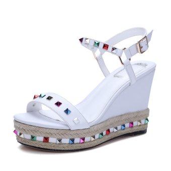 Tauntte Summer Bordered Crystal Genuine Leather Wedges Sandals Women Fashion Height Increasing Casual Shoes For Lady (White) - intl