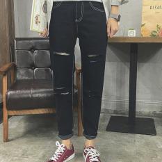 TB Men's Jeans Break Hole Haren Pants Black - Intl